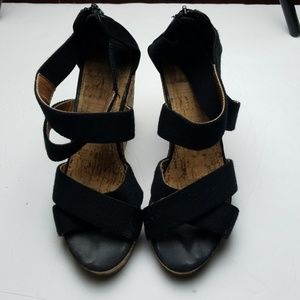 Shoes - Black Strappy Cork Wedges